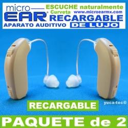 Paquete de 2 MICRO EAR® DE LUJO Aparato Auditivo RECARGABLE Curveta