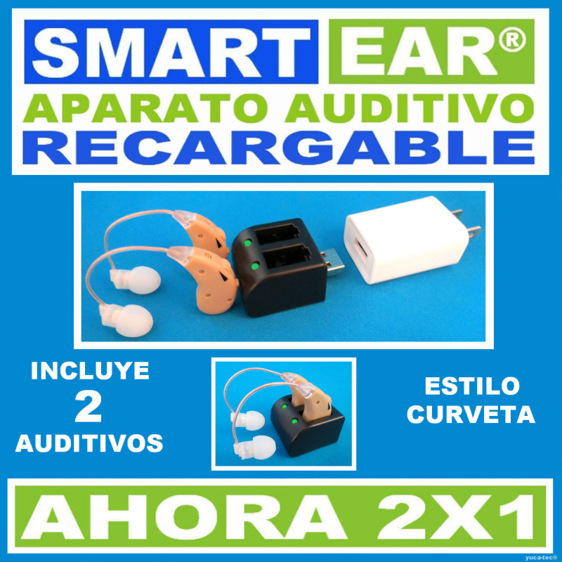 Aparato Auditivo SMART EAR® RECARGABLE 2X1 - Estilo Curveta