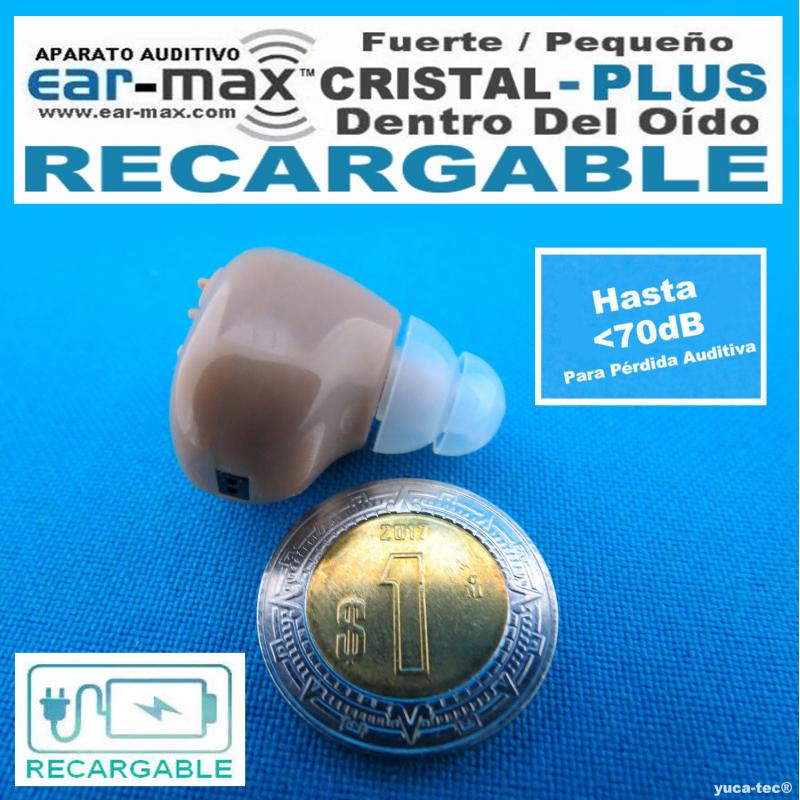EAR MAX® Cristal PLUS RECARGABLE - Aparato Auditivo Auxiliar - Dentro Del Oído