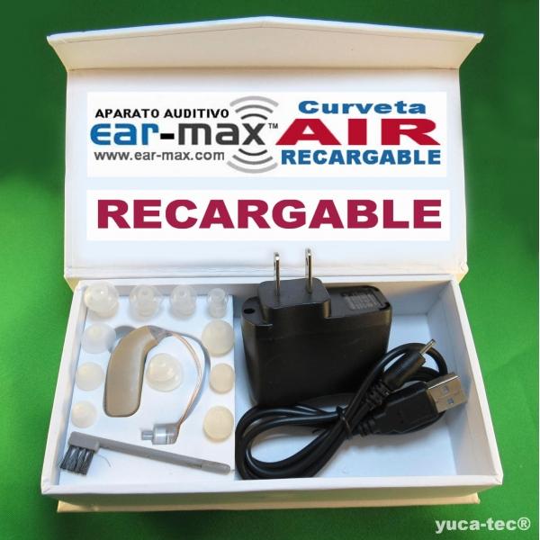 EAR MAX® AIR Aparato Auditivo Curveta RECARGABLE Discreto