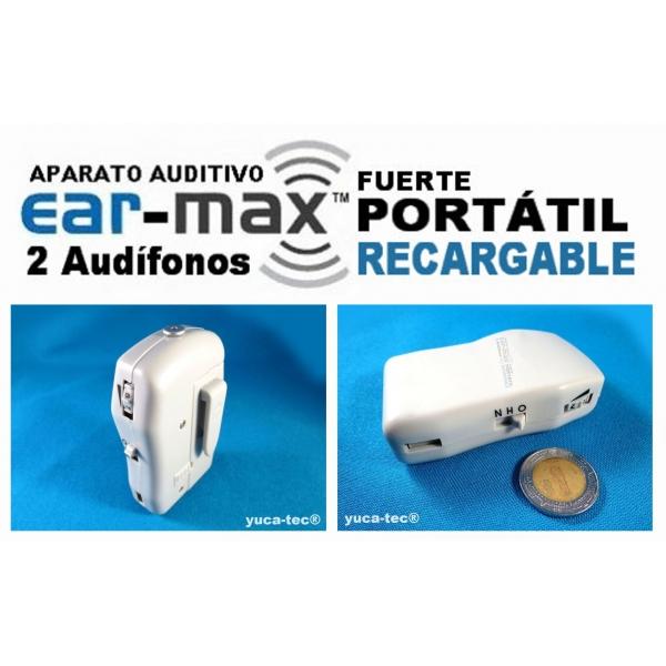 EAR MAX® Fuerte Portátil Aparato Auditivo RECARGABLE con 2 Audífonos